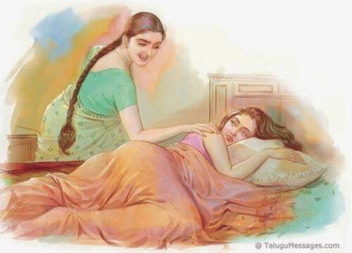 Elder sister waking up her sister