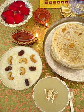 Sankranthi-sweets-rice-kheer-almond-halwa-bobbatlu