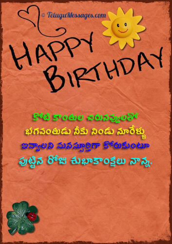 Birthday Wishes to Father in Telugu