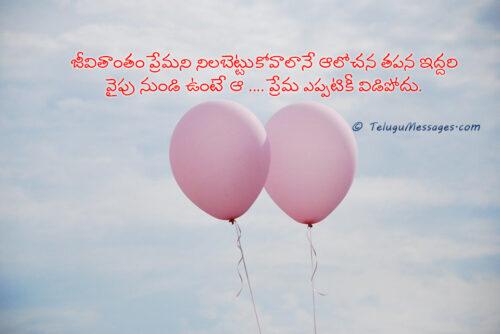 Mutual Understanding Telugu Love Quote